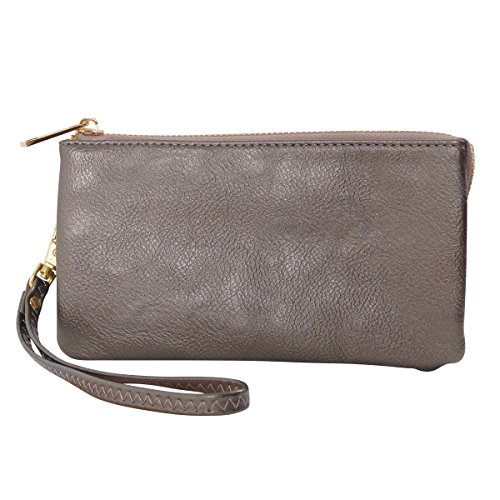 Humble Chic Vegan Leather Wristlet Wallet Clutch Bag - Small Phone Purse Handbag, Gunmetal, Metallic, Dark Silver