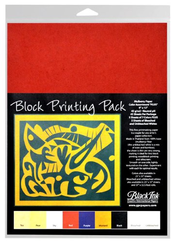 Black Ink 9-Inch by 12-Inch Assorted Colored Mulberry Plus Block Printing Paper, 45-Pack