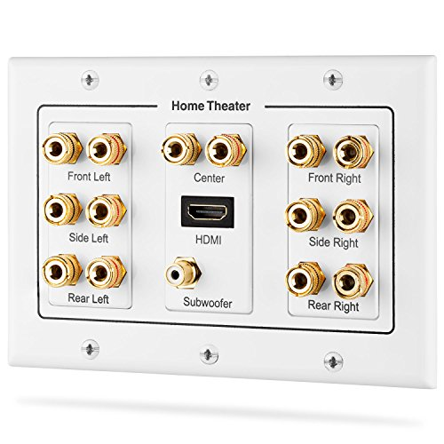(Fosmon HD8006 3-Gang 7.1 Surround Distribution Home Theater Gold Plated Copper Banana Binding Post Coupler Type Wall Plate for 7 Speakers, 1 RCA Jack for Subwoofer & 1 HDMI Port)