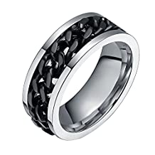 FANSING Jewelry 8mm Wedding Bands Rings for Mens and Womens Stainless Steel Spinner Chain