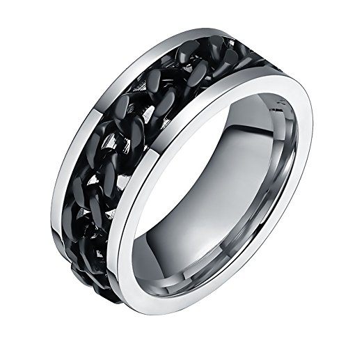 FANSING Jewelry Mens 8mm Black Spinner Chain Design Stainless Steel Ring (8)
