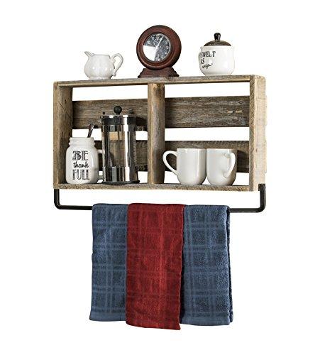 Holder Wood Towel (del Hutson Designs - Barnwood Kitchen Shelf w/ Towel Holder, USA Handmade Reclaimed Wood)