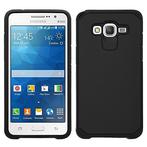 Samsung Galaxy Grand Prime LTE G530 Case - Impact Resistant Hybrid Dual Layer Armor Protective Cover [Drop Protection / Shock-Absorption] For Samsung Galaxy Grand Prime LTE Case - Black Slim Hybrid