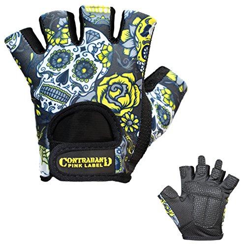 Contraband Pink Label 5237 Womens Design Series Sugar Skull Lifting Gloves (PAIR) (Yellow, X-Small)