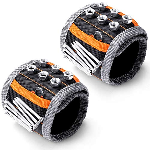 HORUSDY 2PC Magnetic Wristband,with Strong Magnets for Holding Screws, Nails, Drilling Bits, of The Best Valentine's Day Tools for Men (New-2pc)