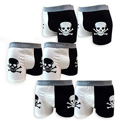 Crazy Cool algodón Boxer Briefs Ropa Interior para Hombres 3-Pack o 6-Pack, cráneo, lunares, Plain, Skulls-6pack, XL