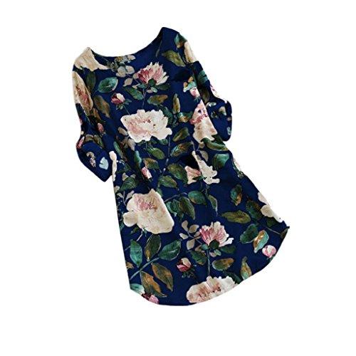 HGWXX7 Women Casual Plus Size Floral Print Long Sleeve Linen Mini Party Dress (XXL, Blue) (Pleated White Skirt Sequin)