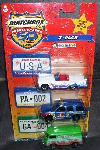Pennsylvania and Georgia 2002 Matchbox Across America 3 PACK USA