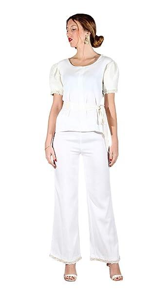 f2368ec24281 AdelaYdi - Pantalones Blancos Mujer - Pantalones Verano Mujer - Pantalones  Ceremonia Mujer (34)
