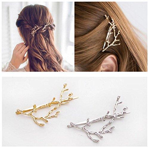 QTMY 2 PCS Metal Branches Hairpin Hair Clips Hair Accessories