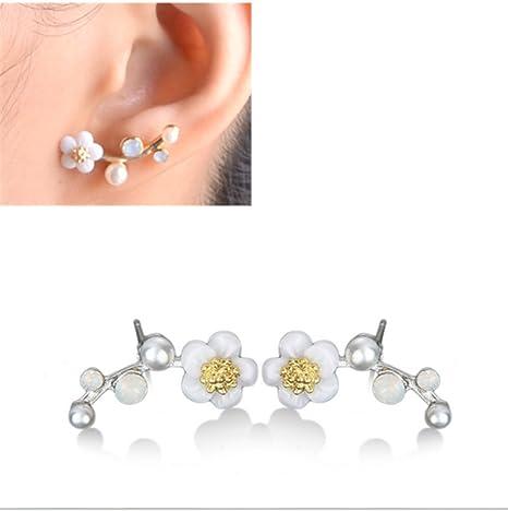 auténtica venta caliente último diseño Precio pagable HOMEYU® Pendientes de orejera Pearl Flower Pendientes ...