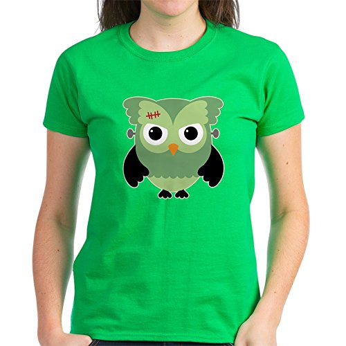 Truly Teague Women's Dark T-Shirt Spooky Little Owl Frankenstein Monster - Kelly Green, Small -
