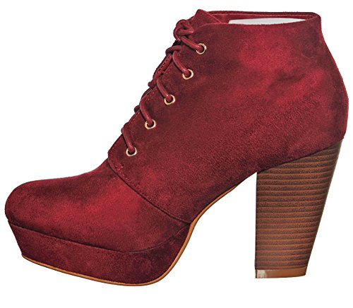 up Platform Women's Wineg21 Booties Chunky Lace Ankle Heel Almond shoewhatever Toe BqInS
