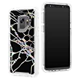 Galaxy S9 Plus Case, Laser Bling Soundmae Marble Design [Glossy Soft Touch Feeling] Dual Layer Shockproof Bumper Rugged Non-Slip Protective Back Cover for Samsung Galaxy S9 Plus (2018), Black