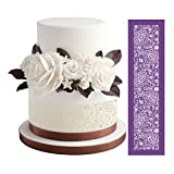 ART Kitchenware 19''×5.12'' Large Alencon Lace Mesh Stencil Lace Floral Cake Stencil Wedding Cake Side Stencils Template Mold Cake Decorating Bakery Tool MST-42 Purple Color