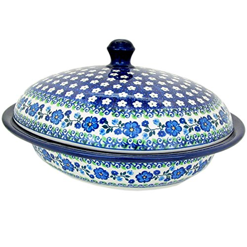 Polish Pottery 11.5 inch Oval Covered Roasters 615-Spring Melody