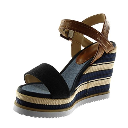 Angkorly Damen Schuhe Sandalen Mule - Knöchelriemen - Plateauschuhe - Bi-Material - Tricolor - String Tanga - Linien Keilabsatz High Heel 11 cm Schwarz