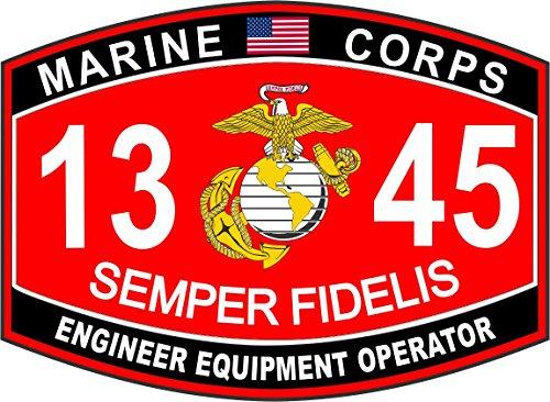 Engineer Equipment Operator Marine Corps MOS 1345 USMC US Marine Corps Military Window Car Bumper Sticker Vinyl Decal ()