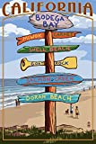 Bodega Bay, California - Destination Signpost (9x12 Collectible Art Print, Wall Decor Travel Poster)