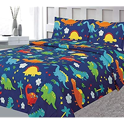 Bedding Haus Full Kids Sheet Set (4pc), Multi-Color Dinosaur Design, Fun and Bright Bed Sheet Cover Boy Girl Kids, Fitted Flat 2 Pillow Cases, Sheet Full Dino Multi: Home & Kitchen
