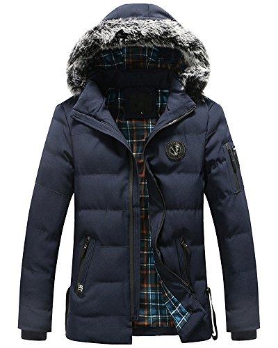 Giacche Spesso Degli Blu Parka Con Uomini Cappuccio Cappotto Inverno Outwear nxTSxwZO