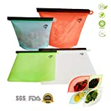 reusable freezer bags silicone - Reusable Silicone Food Storage Bags 4 Packs,2 Large & 2 Small Preservation Container, Airtight Seal Versatile Cooking Bag,Food Saver Bag for Freezer, Lunch,Microwave, Vegetable, Meat, Snack, Sous Vide