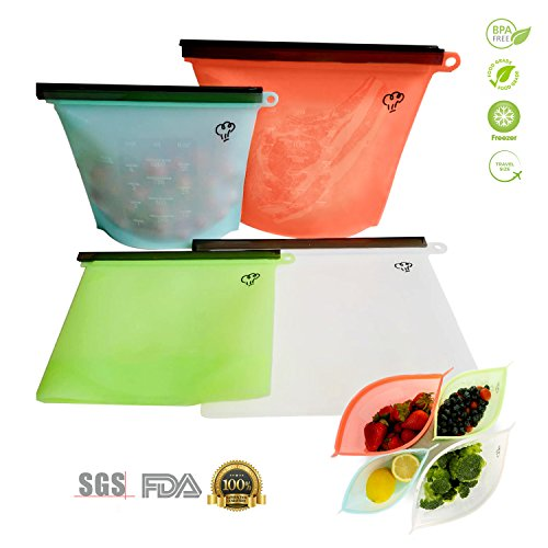 Reusable Silicone Food Storage Bags 4 Packs,2 Large & 2 Small Preservation Container, Airtight Seal Versatile Cooking Bag,Food Saver Bag for Freezer, Lunch,Microwave, Vegetable, Meat, Snack, Sous Vide Large Snack Bag