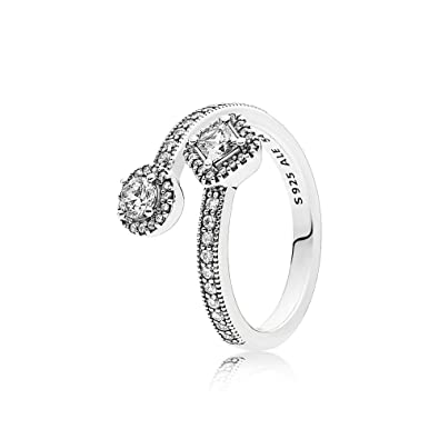 c693db330 Amazon.com: Pandora Abstract Elegance Ring, Clear CZ 191031CZ-52 E.U ...