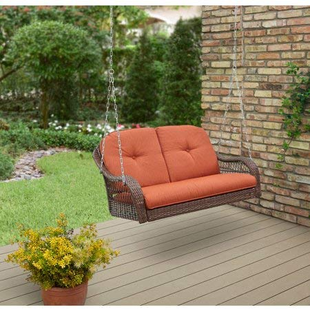 Better Homes & Gardens* Azalea Ridge 2-Person Outdoor Swing, Vermillion in Burnt Orange