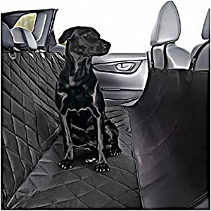 Plush Paws Ultra-Luxury Pet Seat Cover Waterproof, 2 Bonus Harnesses & 2 Seat Belts, Hammock, Side Flaps, Seat Anchors, Nonslip Silicone, Quilted, Machine Washable for Cars, Trucks & Suv