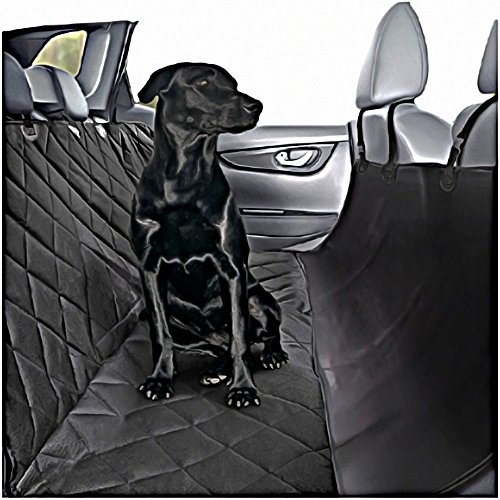 Plush Paws Ultra-Luxury Pet Seat Cover - 2 Bonus Harnesses 2 Seat Belts for Full Size Trucks, Large Suv's & Cars - XL Black, Waterproof, Nonslip Silicone Backing ()