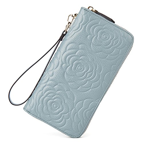 BOSTANTEN Leather Wallets Camellia Pattern Zipper Handbags with Wristlet for Women Light Blue
