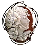 Cameo Pendant Summer Dream Sterling Silver Master Carved, Italian Sardonyx Shell