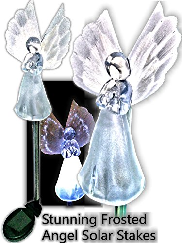 Brilliant & Mo Set of 2 Gorgeous Frosty Solar Angel Lights Garden Stakes With Fibre Optic Wings by BRILLIANT AND MO