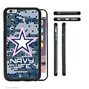 Navy Camo WIFE iPhone 6 Plus Rubber Silicone TPU Cell Phone Case