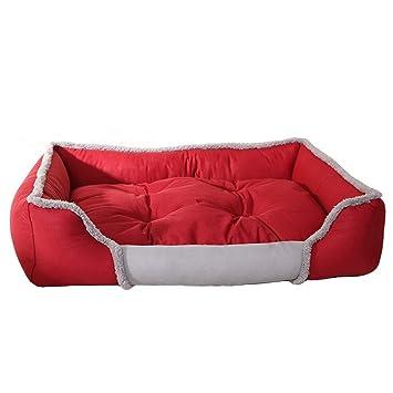zhenghewyh Cama para Perros Gato Cesta Mascotas Pequeña Medio Grande Lavable (S, Rojo)