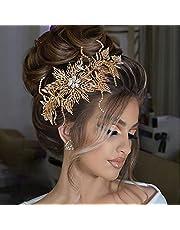 ULAPAN Wedding Hairpiece Headbands Rhinestone Gold Bridal Tiara for Women Bridal Hair Accessories