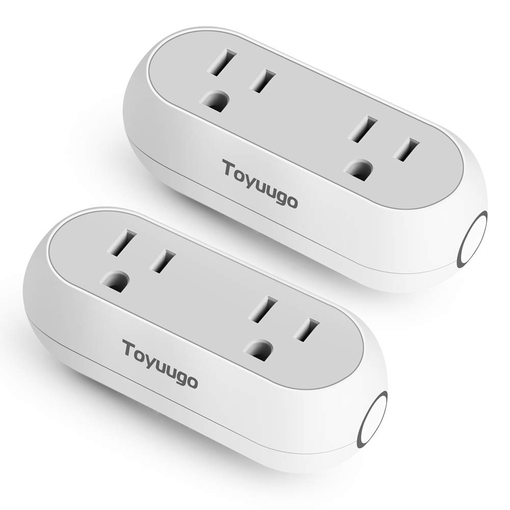 Wifi Smart Plug, Toyuugo Mini Smart Outlet Works with Alexa Echo and Google Assistant IFTTT, Energy Monitoring Dual Socket Smartphone Remote Control from Anywhere, No Hub Required,2 pack