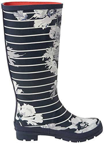 Botas Stripe Print Mujer Welly Tom de Joule Agua Blue Navy French Posy PEtEq