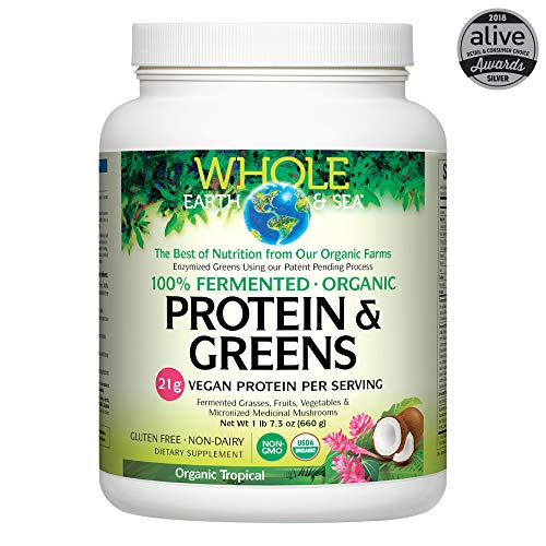 Whole Earth & Sea from Natural Factors, Organic Fermented Protein & Greens, Whole Food Supplement, Vegan, Non-Dairy, Gluten Free, Tropical, 1 lb 7.3 oz (20 Servings)