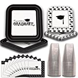 Graduation Party Tableware for 40. Elegant Black and White Design. Square Paper Dinner Plates and Dessert Plates, Napkins and Plastic Square Cups.