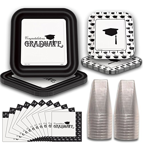 Graduation Party Tableware for 40. Elegant Black and White Design. Square Paper Dinner Plates and Dessert Plates, Napkins and Plastic Square -