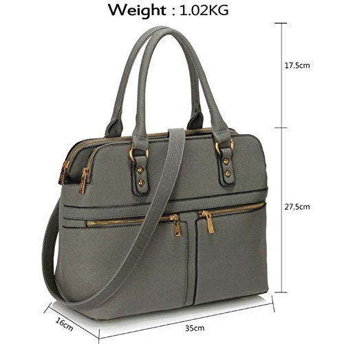 3 Bag LeahWard Bags Handbags Women's 250 Celeb Nice Compartments Style Large Grey Tote Wqpxgqwv64