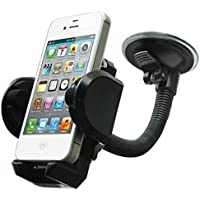 Car Mount Windshield Phone Holder Rotating Cradle Stand Window Glass Dock Suction Gooseneck Black for Sprint Samsung Galaxy S8 - Sprint Samsung Galaxy S8+ - Straight Talk Alcatel One Touch POP ICON 2