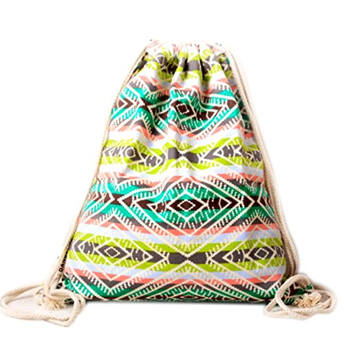 Price comparison product image Farway Drawstring Bag Canvas Ethnic Bohemia Backpack Outdoor Travel Shopping Sack Bags Unisex - Pattern 8