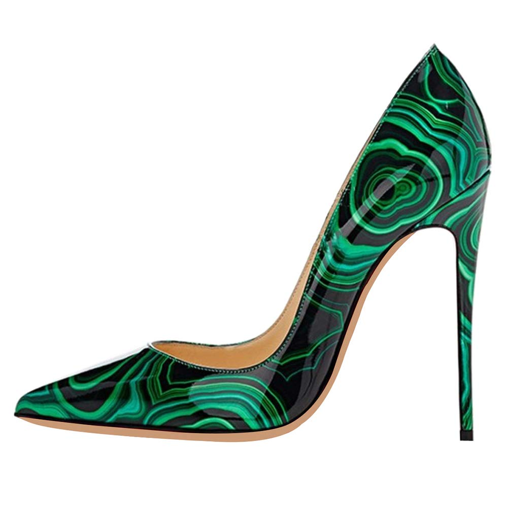 Green patternt CAITLIN-PAN Womens 12cm High Heels Pointed Toe Slip On Stilettos Leather Party Dress Pumps Size 5-15 US