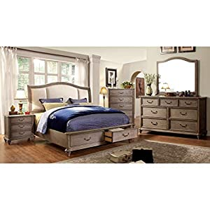Furniture of America Minka IV Rustic Grey 4-Piece Bedroom Set King