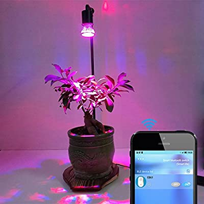 10W Automatic LED Plant Grow Light Stand Tabletop with Bluetooth Timer Switch for Home Indoor Plants Marijuana Veg Flower by AiHitech