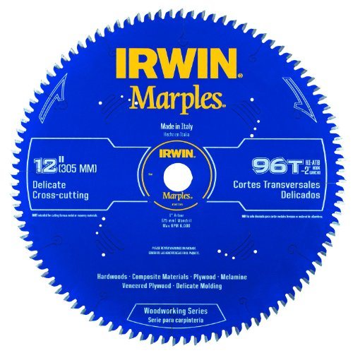 Irwin Tools  1807385 Marples Laser Cut 12-Inch 96-Tooth Hi-Alternate Tooth Bevel Circular Saw Blade with Negative Hook Angle ()