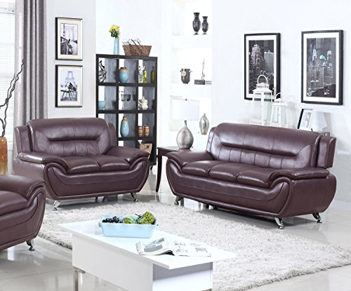 U.S. Livings Anya Modern Living Room Polyurethane Leather Sofa and Loveseat Set (2-Piece, Dark Cherry)